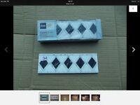 Ceramic Border tiles - Black & white diamonds - 1m per box