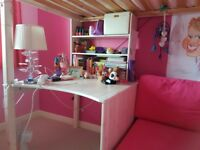 Girl's stompa bed, mattress and matching eyelet pink curtains