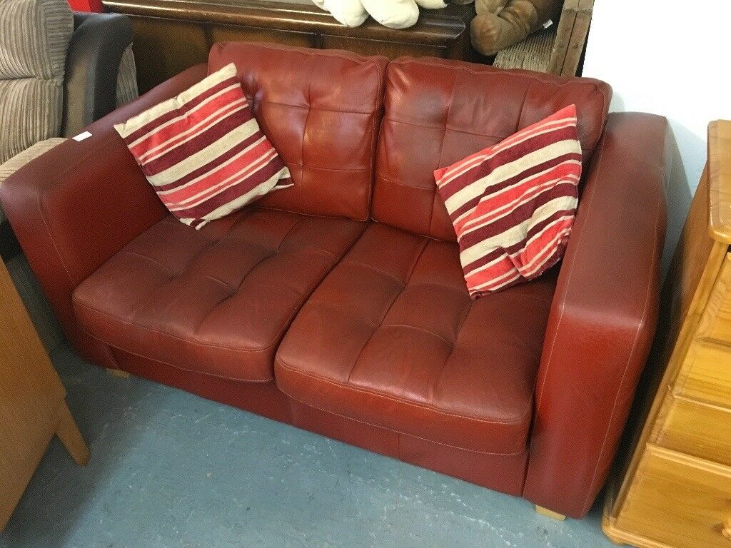 RED LEATHER TWO SEATER (DELIVERY AVAILABE)