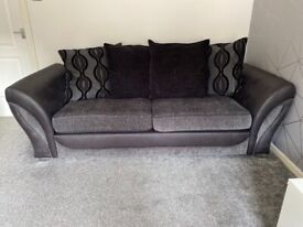 3 seater + 2 seater black/charcoal fabric sofas