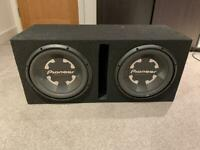 "Pioneer Champion Series 2x12"" Subwoofer Box + Car Audio Amplifier (Banda 1200.4)"