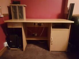 Large office desk with drawer & cupboard
