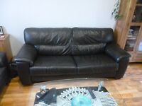 Brown leather 3 seater sofa- can deliver in Inverness