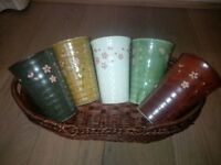 5 Tea Cups Authentic Made in Japan - Lacquer Crafts long Tea Cups with a basket