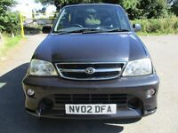 02 DAIHATSU TERIOS 1.3 SL LOW 88K LONG MOT 07/17 CAMBELTED TOWBAR CD PLAYER AIR CON ALLOYS PX SWAPS