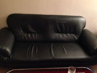 Black Faux Leather Sofa Settee Couch 2 Seater including delivery