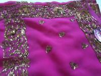 Cerise/purple saree
