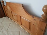 Double bed with mattress £80 old pine with headboard and foot board.