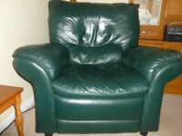 GREEN 3 PIECE LEATHER SUITE - 2 armchairs and 2 seater sofa