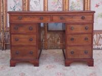 VICTORIAN ENGLISH ANTIQUE MAHOGANY TWIN PEDESTAL LEATHER TOP WRITING DESK IDEAL SMALL SIZE GOOD COND