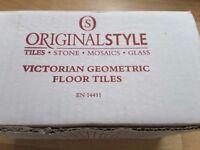 Beautiful Original Style Geometric Black and Dove White Victorian Floor Tiles