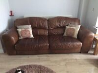 2&3 seater Brown leather sofa