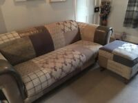 3 seater DFS country patchwork sofa and footstool