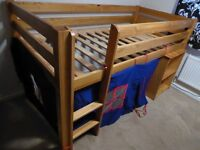 Mid sleeper single bed with blue tent