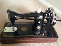 Singer hand cranked sewing machine