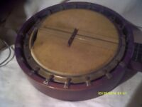 NICE OLD 6 STRING BANJO In GOOD CONDITION apart from the VELLUM , EASY to REPLACE++