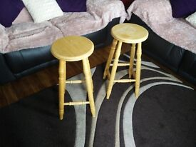 2x Wooden High Stools