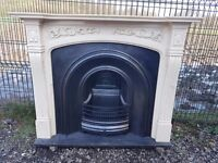 115 Cast Iron Fireplace Surround Fire Composite Marble Arch Arched Antique Victorian Style