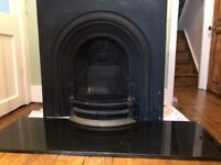 Black granite fire hearth