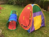 Pop up play tent and tunnel