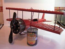 Model Bi-Plane - Metal Red & Black With Decals