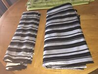 Roman blind x2 and matching door curtain perfect condition black and silver