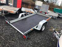BRAND NEW MODEL 10 X 5.6 SMART CAR TRANSPORTER/ QUAD TRAILER SINGLE AXLE BRAKED 1300KG