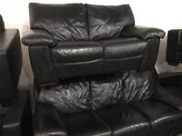 Stunning 3 and 2 black leather sofas