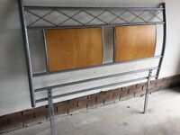 Double bed headboard only. Silver grey finish with cherry / Oak wooden inlays. Excellent condition.