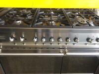 Stainless steel smeg five burners 100cm dual fuel gas cooker grill & double ovens good condition w