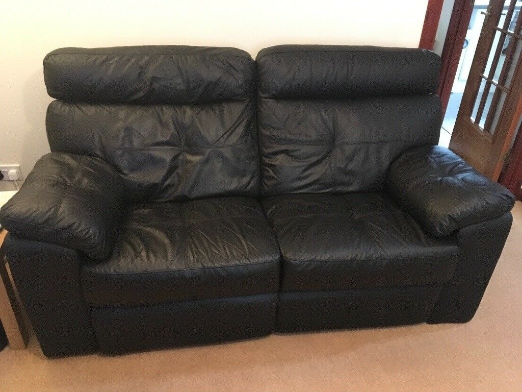 Black Leather Sofa 2 Seater Recliner In Kingswells