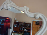 Decorative Mirror Vintage French Style Cream Overmantle Wall