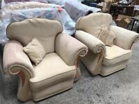 Cream Fabric Armchairs