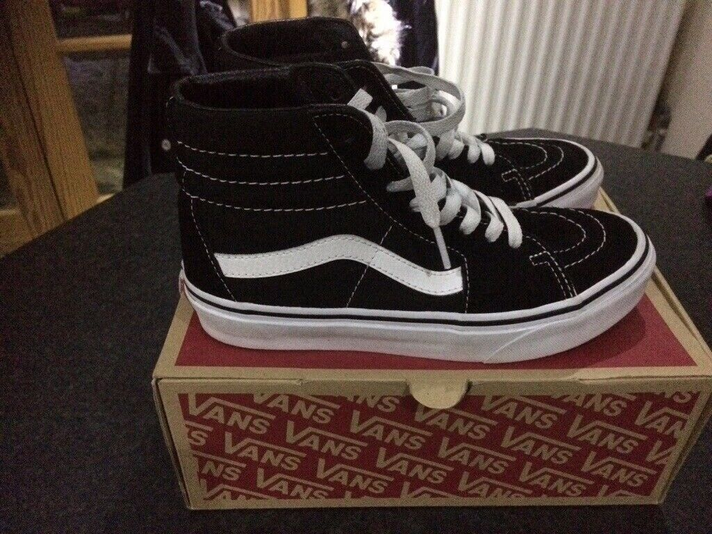 540bb81ece749a Vans SK8 High Tops Black White UK Size 4 Woman Man Kids Like ...