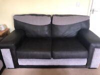 2 x black and grey fabric sofas