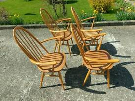 ** Blonde Ercol** dining chairs and table