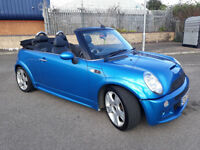 2008 MINI COOPER S CONVERTIBLE MET BLUE,JCW BODYKIT,LOW MILES,HEATED LEATHER,XENON,LOVELY CAR
