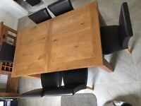 Solid Rustic Oak Dining Table, Oak Sideboard (sofa table), and 6 Leather Dining Chairs