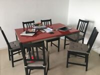 Elegant Dining table and 6 chairs - Red / Grey