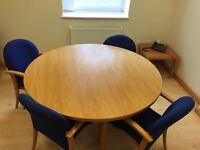 Circular Solid Wood Meeting Table and Chairs
