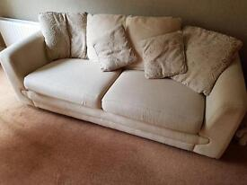 GBP 65 each - Two 3-seater cream fabric sofa with cushions