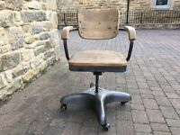 2 x Industrial Swivel Chair Wooden Panel steel Base and Frame From Barker and Stone house