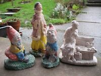 OLD Concrete Garden Gnomes and Statues lady feeding squirrels oriental lady PROJECT Job Lot