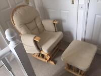Cream Supremo Bambino rocking chair with footstool
