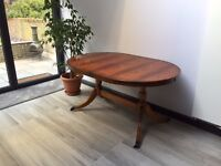 Polished Antique Oak Dining Table, Brass Claw Foot + Leaf Insert (x2)