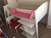White children's Single mid-way bed with desk and chair