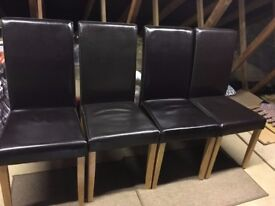 x4 Black Leather Dining Chairs - £9 each or £30 for all four chairs