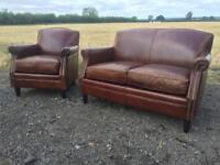 Stunning Brown Leather Chesterfields style 2 Seater sofa and club chair.