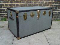 FREE DELIVERY Vintage Grey Mossman Steamer Trunk Retro Mid Century Furniture