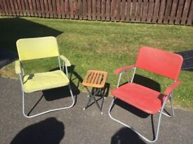 Deck chairs and a stool